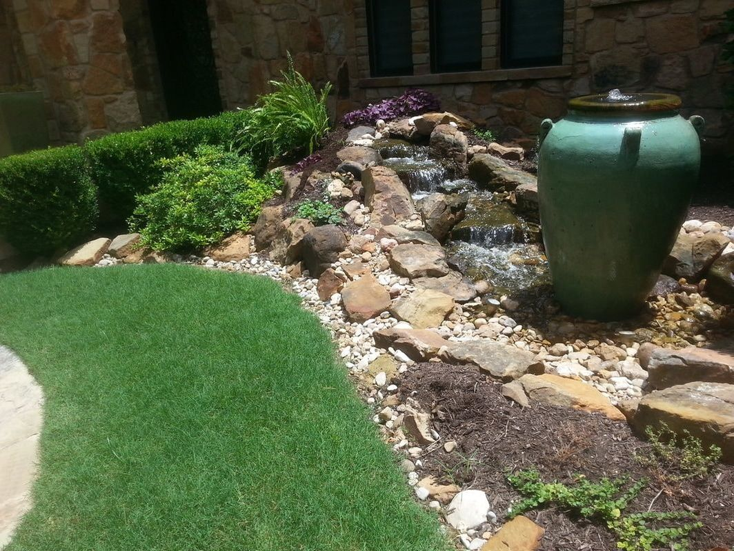 Pondless Waterfall with Bubbling Urn Water Feature Installed in Austin, TX